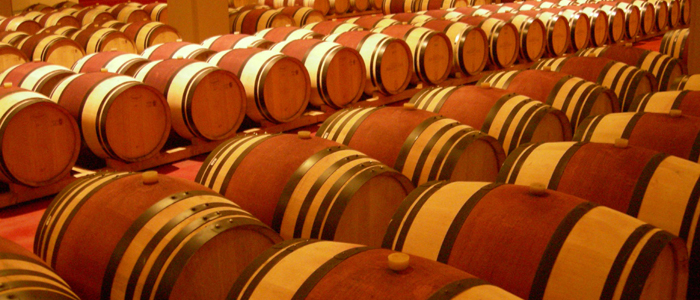 Italian wine barrels. Aging of red wines