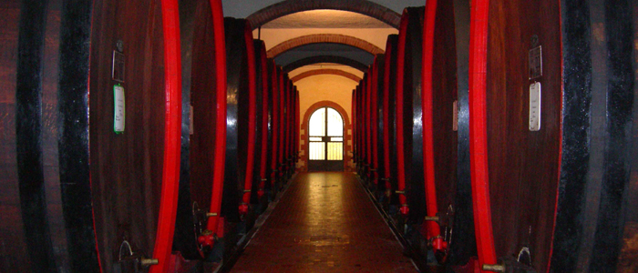 Barrels of red wine of Tuscany Chianti